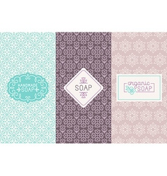 Hand made soap packaging and wrapping paper vector
