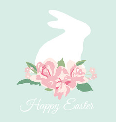 Happy easter card with bunny and flower bouquet vector