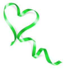 Heart made of green ribbon vector image