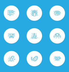 Holiday icons line style set with bell christmas vector