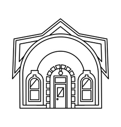 House with round roof icon outline style vector