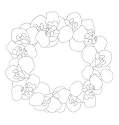 iris flower outline wreath vector image