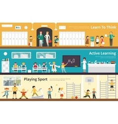 Learn To Think Active Learning Playing Sport flat vector image