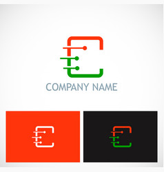 Letter c dot technology company logo vector