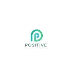 Letter p green colour 3d creative natural logo vector