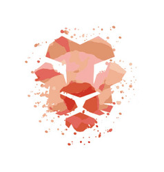 lion face on watercolor vector image