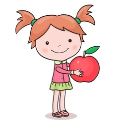 Little girl picking up apples vector