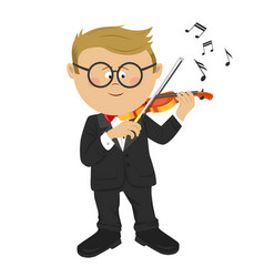 little nerd boy with glasses playing violin vector image