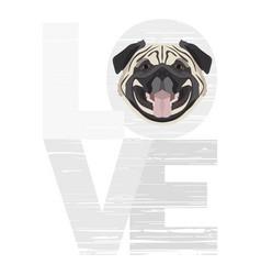 Love pug vector