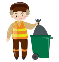 man throwing garbage in trashcan vector image