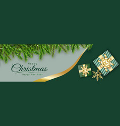 Merry christmas green background decorative vector