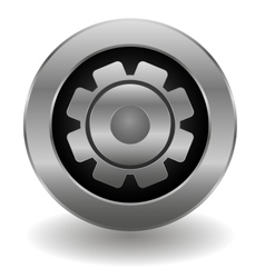 Metallic gear button vector image