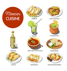 Mexican food cuisine traditional dishes of meal vector