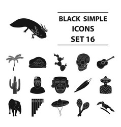 mexico country set icons in black style big vector image