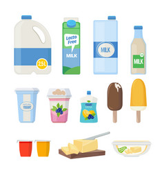 milk products dairy food yogurt leche cheese ice vector image