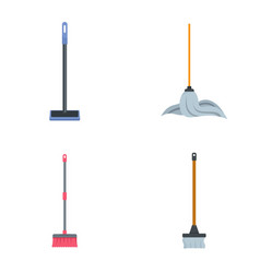 Mop cleaning swab icons set flat style vector