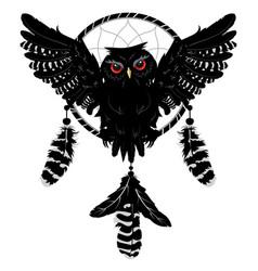 Owl with dreamcatcher vector