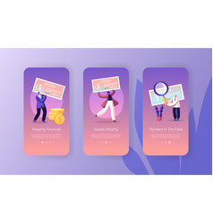 Paycheck salary and payroll mobile app page vector