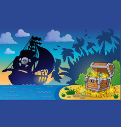 Pirate theme with treasure chest 6 vector