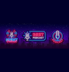 Podcast neon sign collection design vector