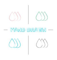 printer ink hand drawn icons set vector image