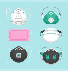 Protective medical masks flat vector