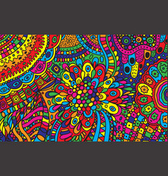 Psychedelic cartoon hand drawn background vector