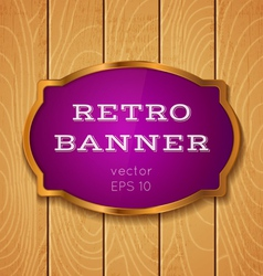 purple banner on wooden background vector image