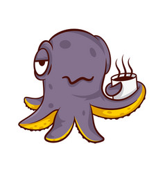 Purple humanized octopus holding cup of hot coffee vector