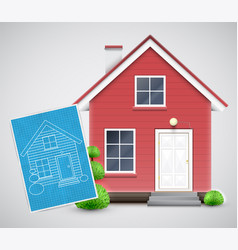 realistic house with a blueprint vector image
