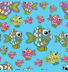 seamless pattern colorful fish vector image