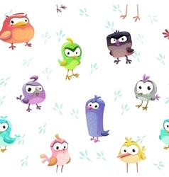Seamless pattern with funny cartoon comic birds vector