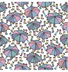 seamless pattern with umbrella and rubber boots vector image