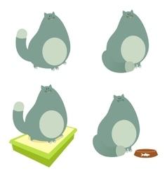 set fat cats vector image