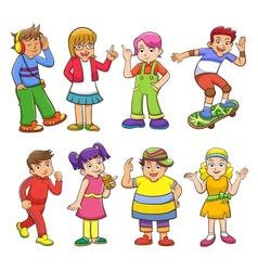 set happy cartoon kids vector image