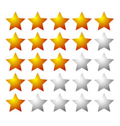 Set of 5 star rating elements starting from 1 star vector