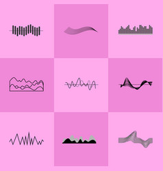 set of black charts on pink vector image