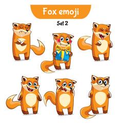 Set of cute fox characters set 2 vector