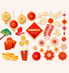 Set of isolated asian or chinese design elements vector