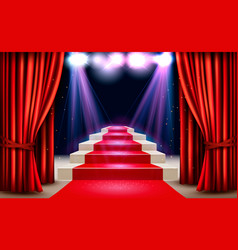 Showroom with red carpet leading to a podium and vector