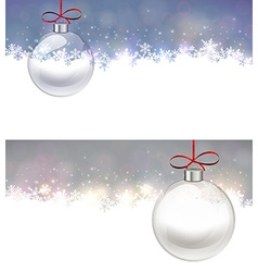 Silver christmas background with glass ball vector