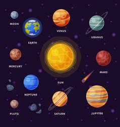 solar system earth saturn mercury venus earth vector image