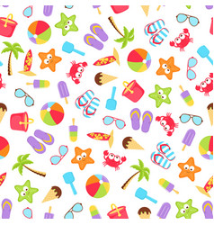 Summer time beach holiday seamless vector