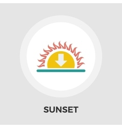 Sunset flat icon vector image