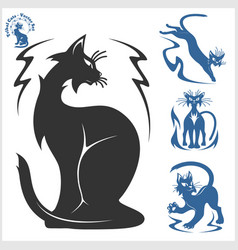 Tribal cats for tattoo - set vector