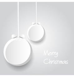 Two white paper christmas decoration baubles vector