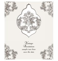 Vintage Card Damask Baroque pattern vector image