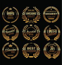 vintage golden badges collection vector image