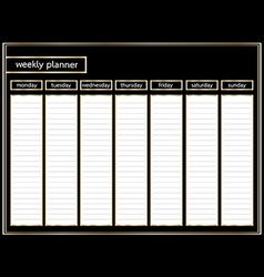 Weekly planner black and gold horizontal vector