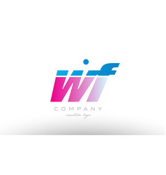 wf w f alphabet letter combination pink blue bold vector image